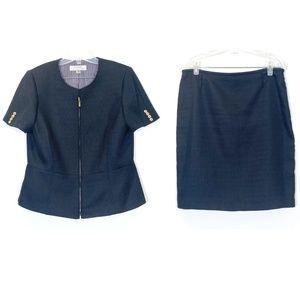 ASL 2 Piece Skirt Suit Tweed Jacket Blazer Pc Zip